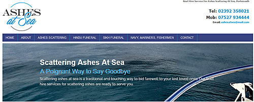 link to ashes at sea website